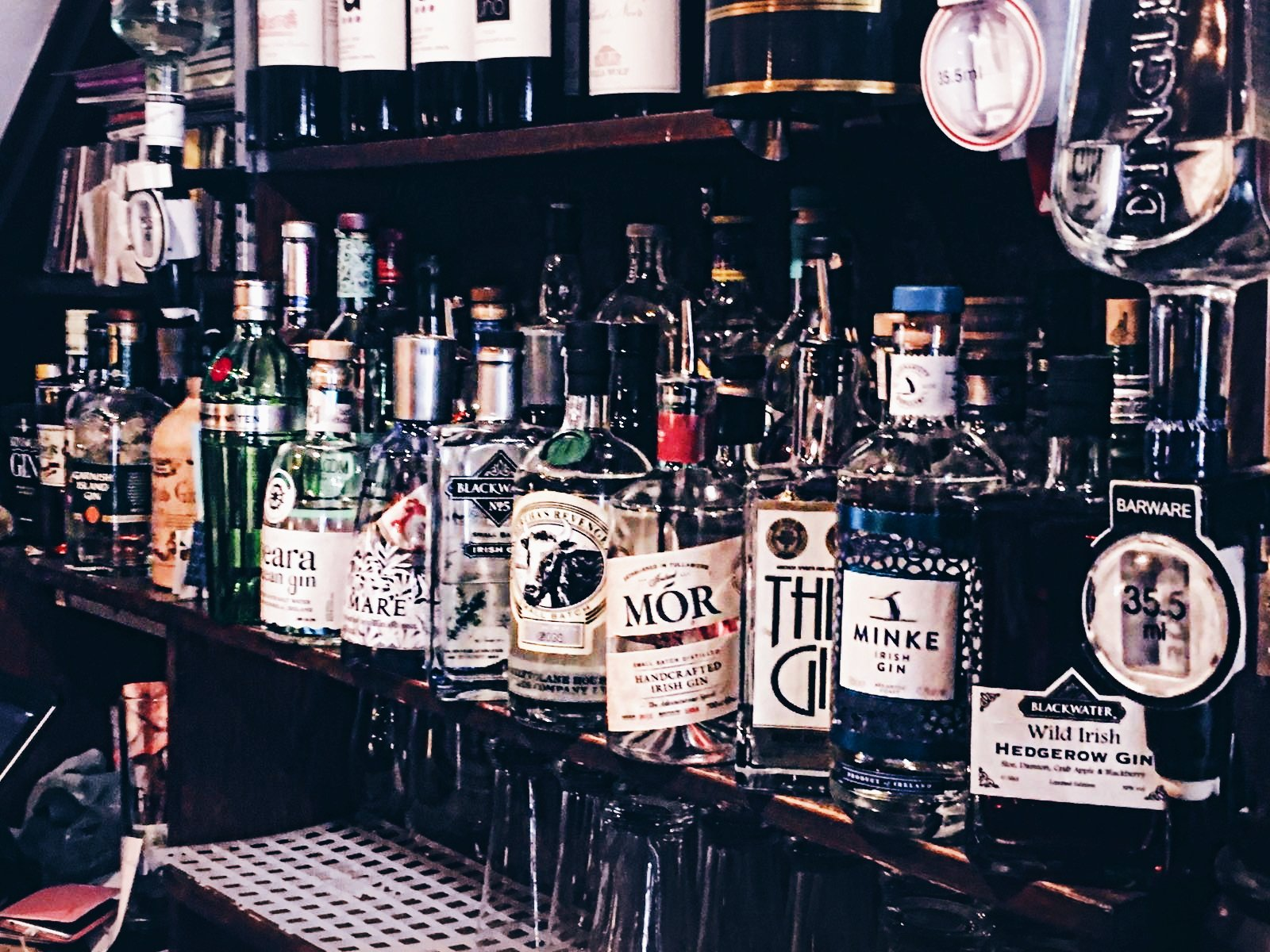 Selection of gin at monk's lane