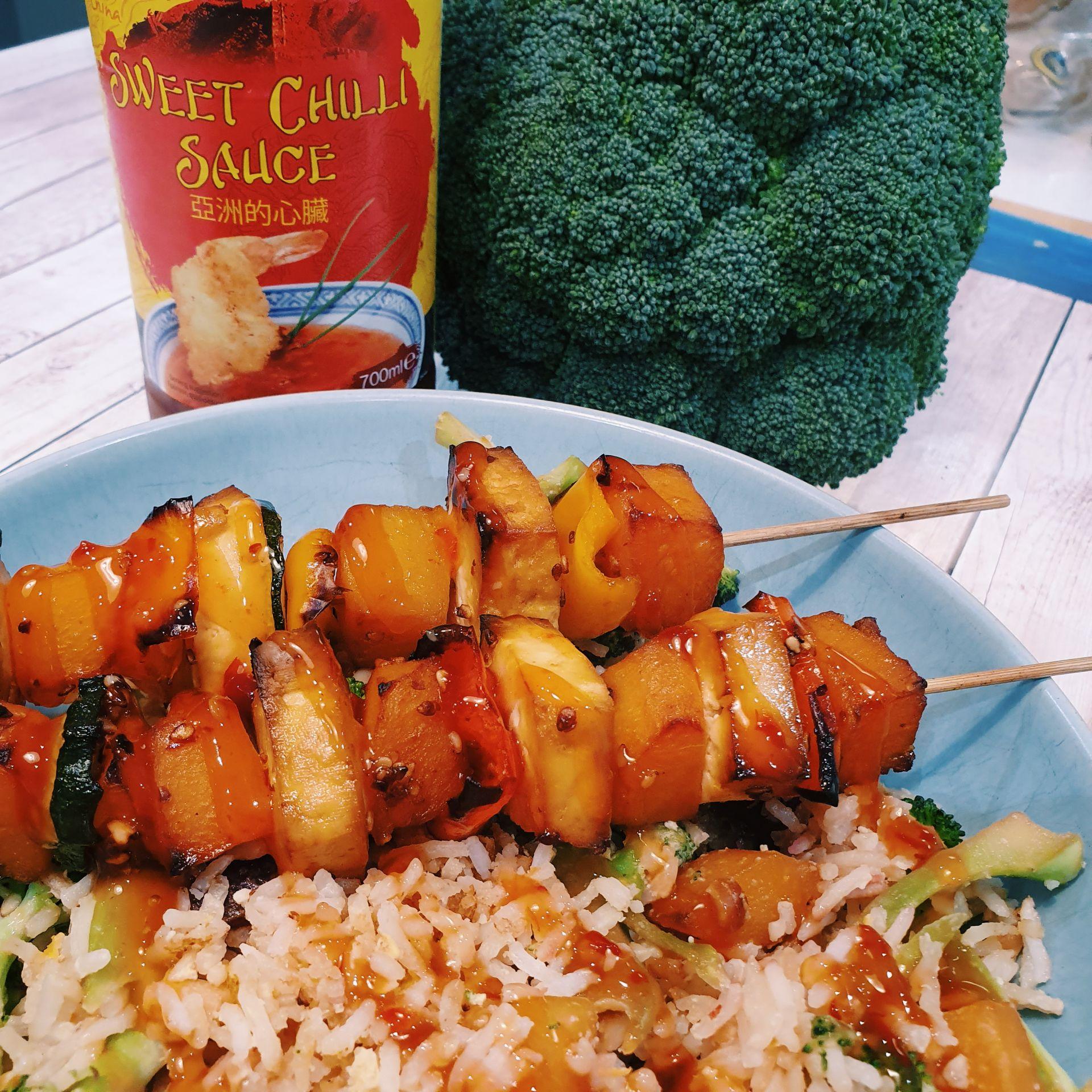 Crispy tofu and veg skewers