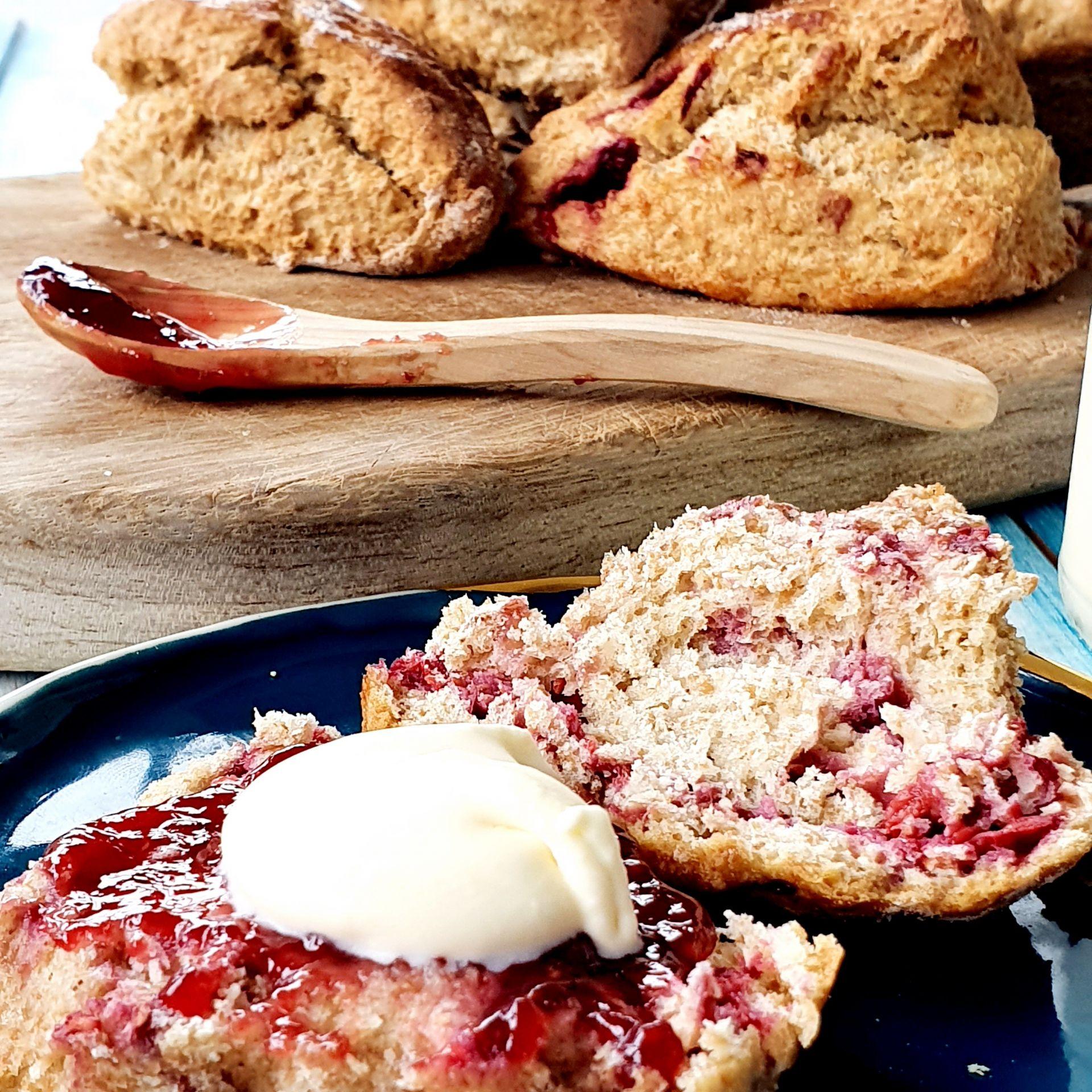 Scone with fresh jam and cream